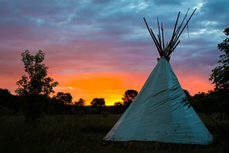 Upper Sioux Agency State Park Tipi at Sunrise