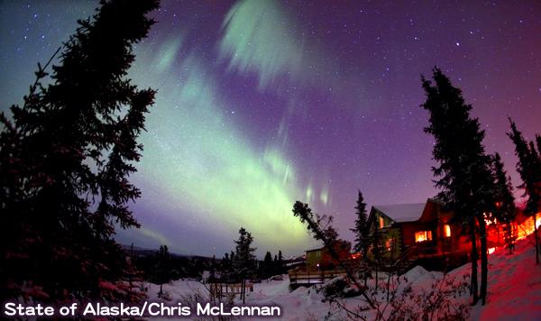 アラスカのオーロラ観測